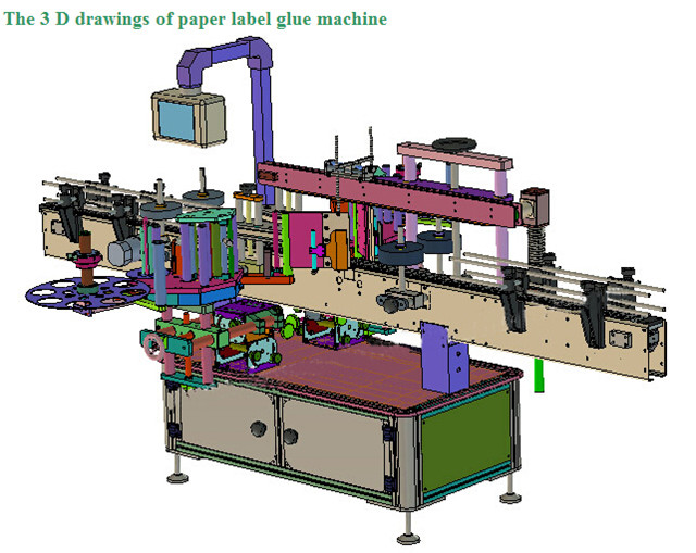 3D drawing of double sided labeling machine automatic liquid