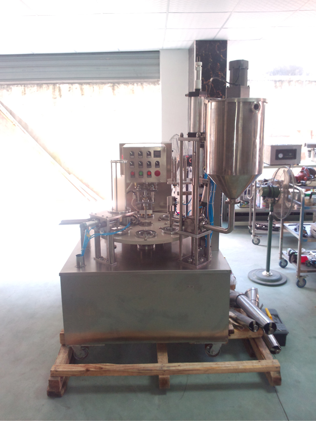 Rotary cup filling sealing machines cream juice butter jelly round cup filler and sealer equipment