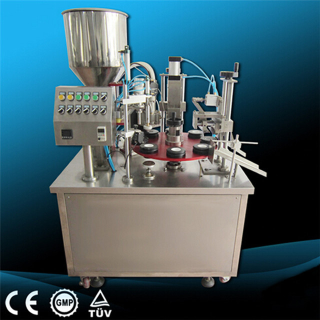 Rotary paste fluid tube cream lotion honey filling sealing machine semi automatic tube inner outer heating filler and sealer equipment machinery