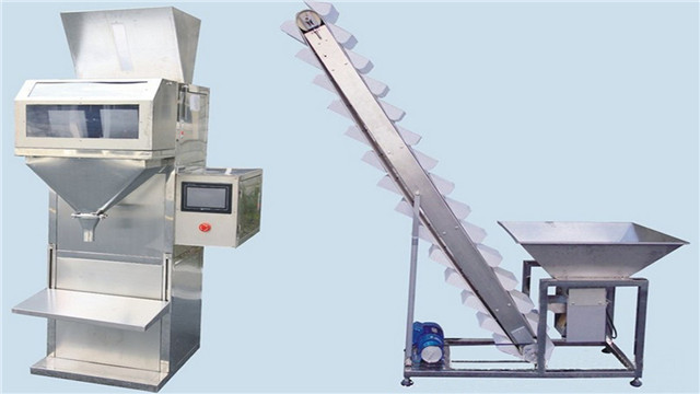 Semi Automatic Nut Bean Granule Weighing Filling Machines manual Grain electric scale Filler Weigher with bucket elevator materials feeding system